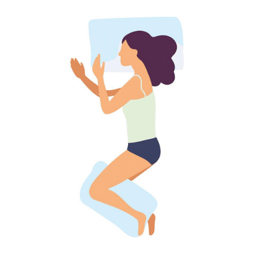 avatar of a woman lying on her side with a pillow between her legs