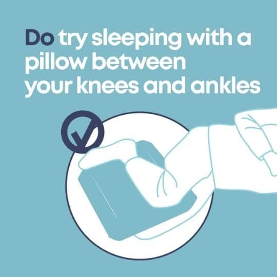 graphic with writing 'do try sleeping with a pillow between your knees and ankles'