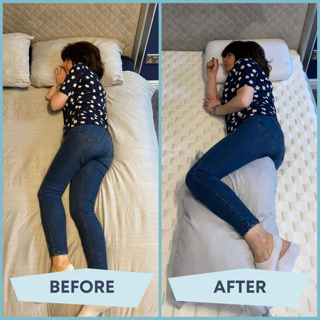 woman sleeping on her side, the before is her with bad posture and the after is her with good posture